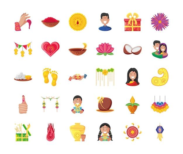 Бхай дудж подробный стиль 30 иконок дизайн набора, фестиваль и празднование Premium векторы