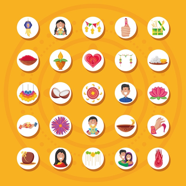 Bhai dooj detailed style icons group design, festival and celebration Premium Vector