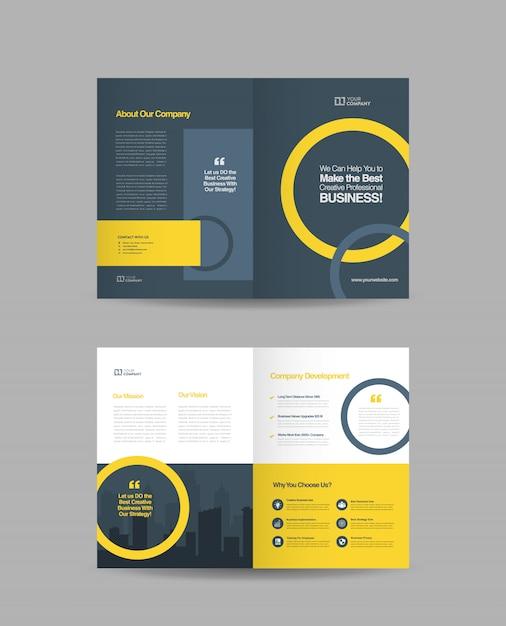 Bi-fold brochure design Premium Vector