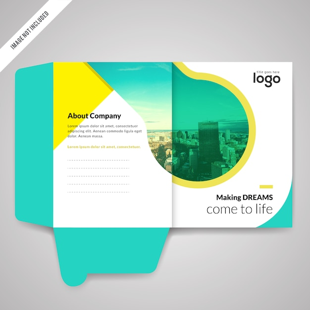 bi fold presentation folder design template vector