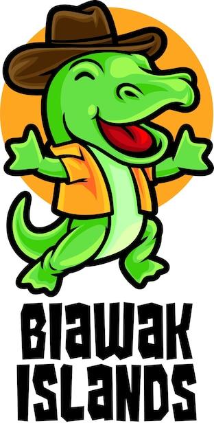 Biawakドラゴンアイランドツアーロゴマスコットテンプレート Premiumベクター