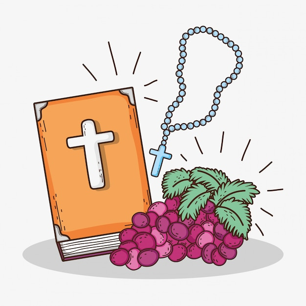 Bibble with rosary cross and grape to first communion Premium Vector