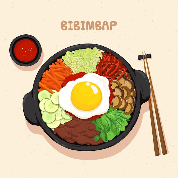 Premium Vector Bibimbap Korean Food