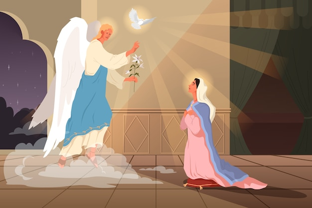 Premium Vector Bible Narratives About The Annunciation To The Blessed Virgin Mary Angel Gabriel Appear And Announce That She Will Become The Mother Of Jesus Christian Bible Character