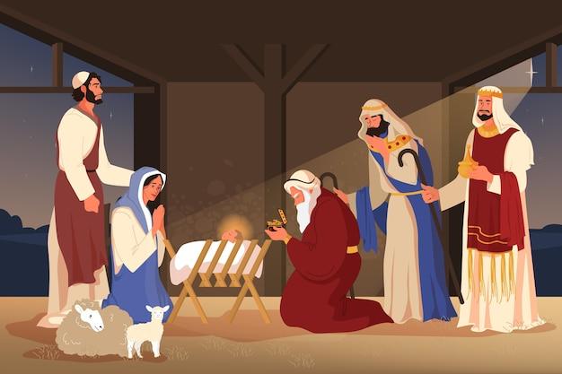 Библейские повествования о поклонении волхвов. три волхва нашли иисуса, следуя за звездой и подарив ему дары, золото, ладан и смирну. христианский библейский персонаж. Premium векторы