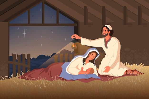 예수 탄생에 관한 성경 이야기. 마리아, 예수의 어머니, 요셉과 헛간에있는 아기 예수. 기독교 성경 캐릭터. . 프리미엄 벡터