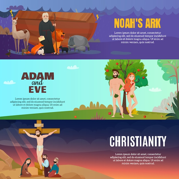 Bible story banners set Free Vector