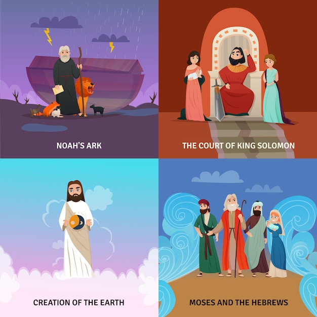 Bible story composition set Free Vector