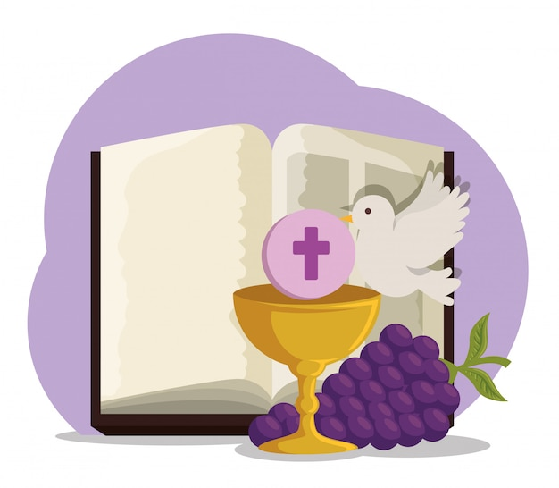 Bible with chalice and grapes to first communion Free Vector