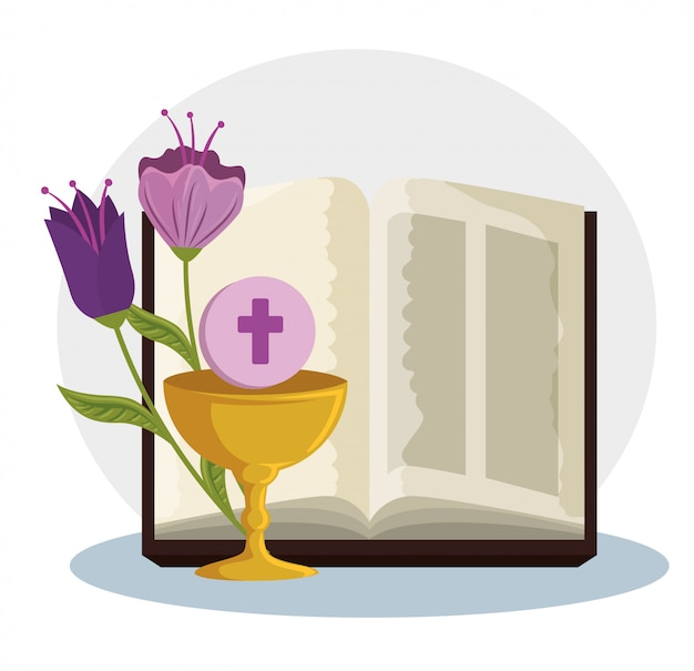 Bible with chalice and holy host to first communion Free Vector