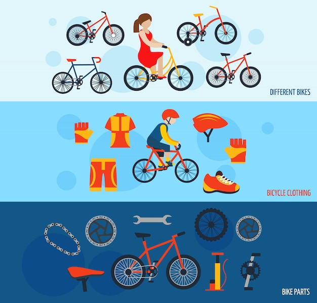 Bicycle accessories flat banners set Free Vector