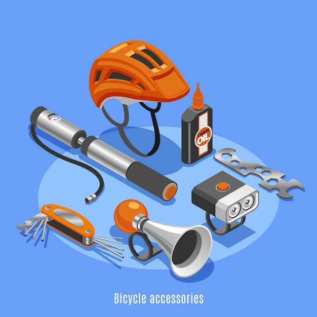Bicycle accessories with helmet pump klaxon spanner bottle of chain oil icons isometric vector illustration Free Vector
