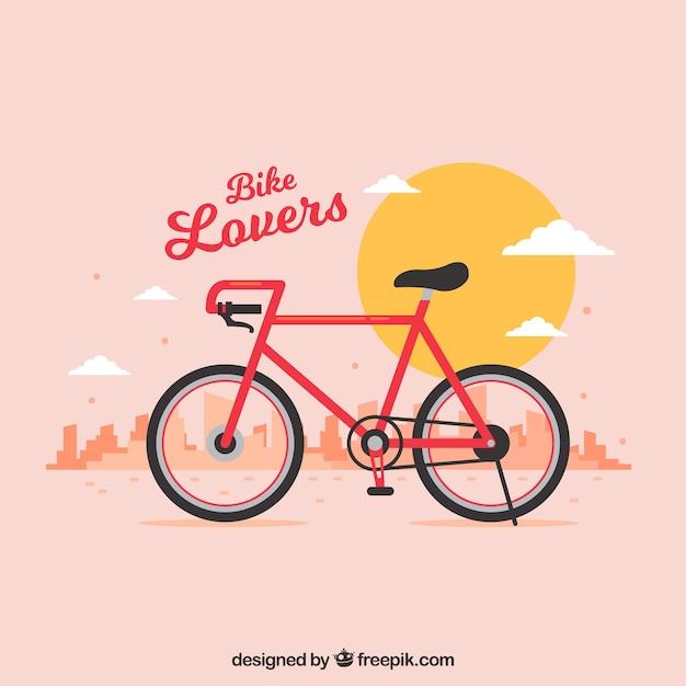 晴れた風景の自転車の背景 Premiumベクター