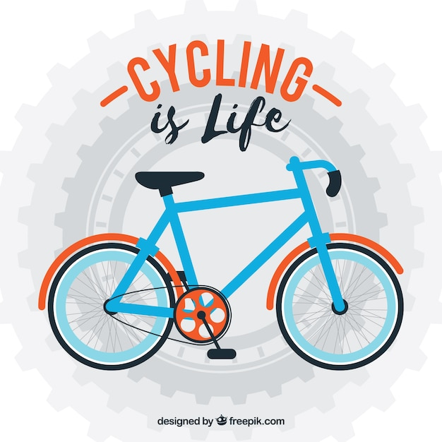 Bicycle background in flat design with a\ phrase