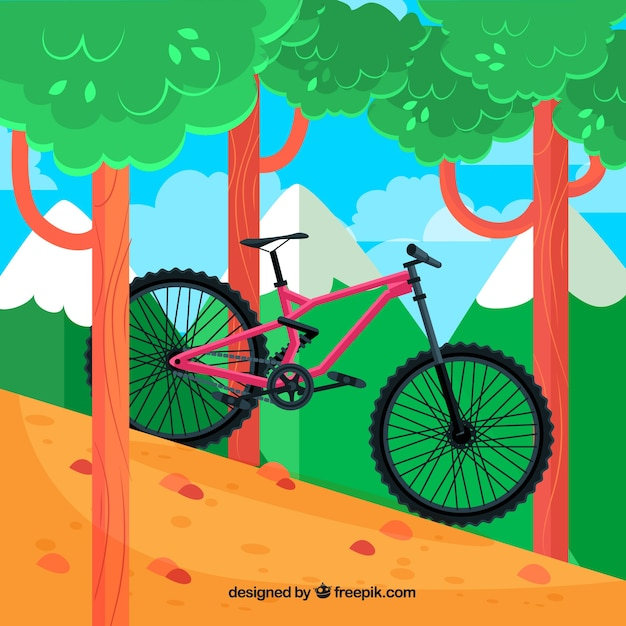 Bicycle background in the forest in flat design