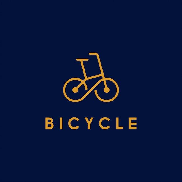 Bicycle, bike, cycle line art logo  with infinity symbol in wheel Premium Vector
