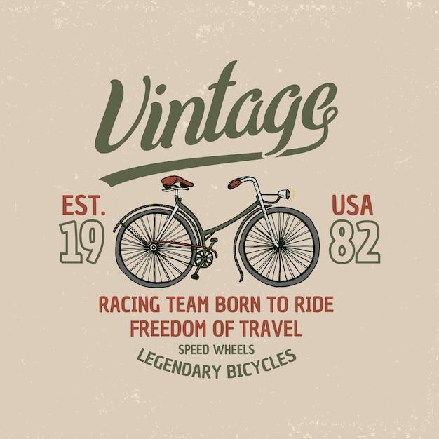 自転車、自転車、ベロシペド。旅行イラスト。ロゴのエンブレムやラベル、古いスケッチやヴィンテージの輸送で描かれた刻まれた手。 Premiumベクター