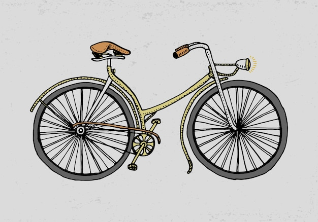 Bicycle, bike or velocipede. travel illustration. engraved hand drawn in old sketch style, vintage transport. Premium Vector