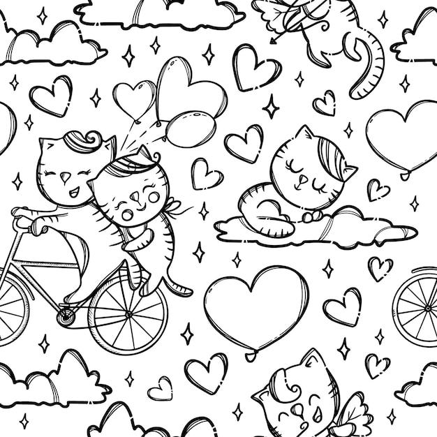 雲の上の自転車の猫。バレンタインデーの漫画の動物のモノクロの手描きのシームレスなパターン Premiumベクター