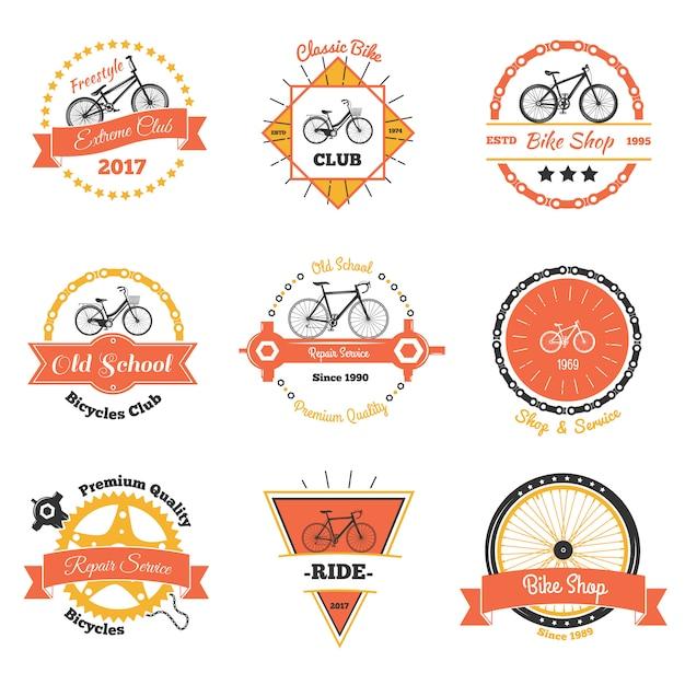 Bicycle club oldschool emblems Free Vector