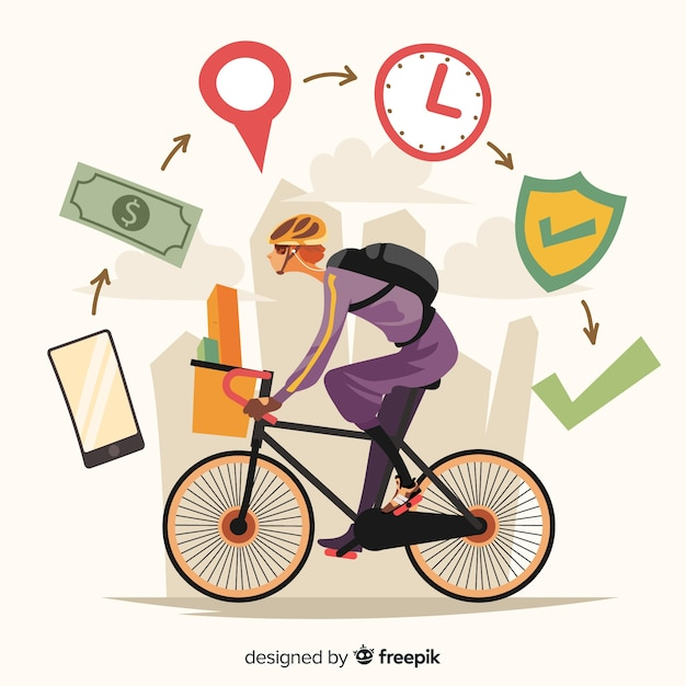 Bicycle delivery concept in hand drawn style Free Vector
