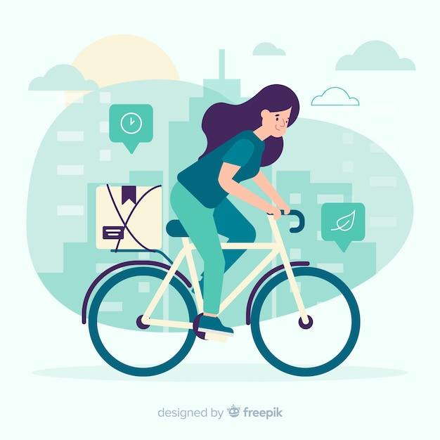 플랫 스타일의 자전거 배달 개념 무료 벡터