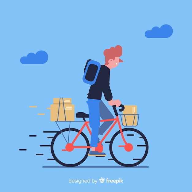 Bicycle delivery concept with packages Free Vector