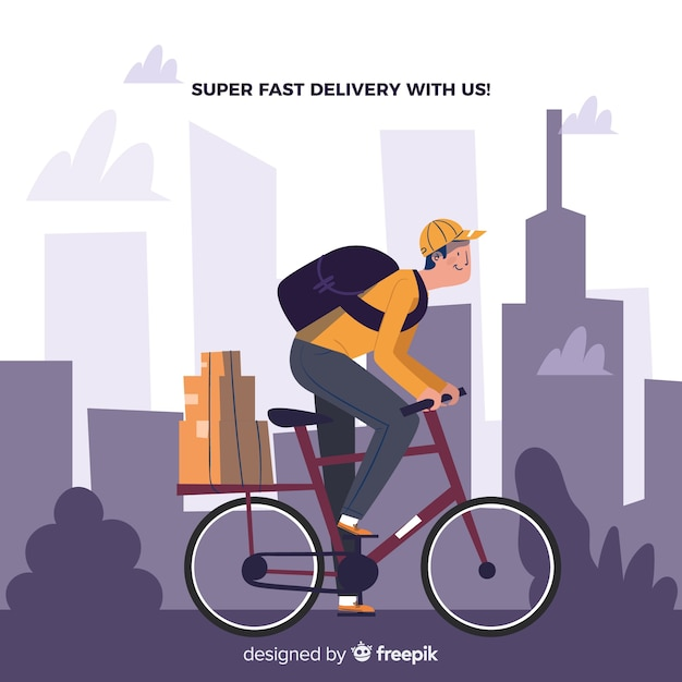 Bicycle delivery Free Vector