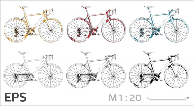 Bicycle drawing set on different colors, side view Premium Vector