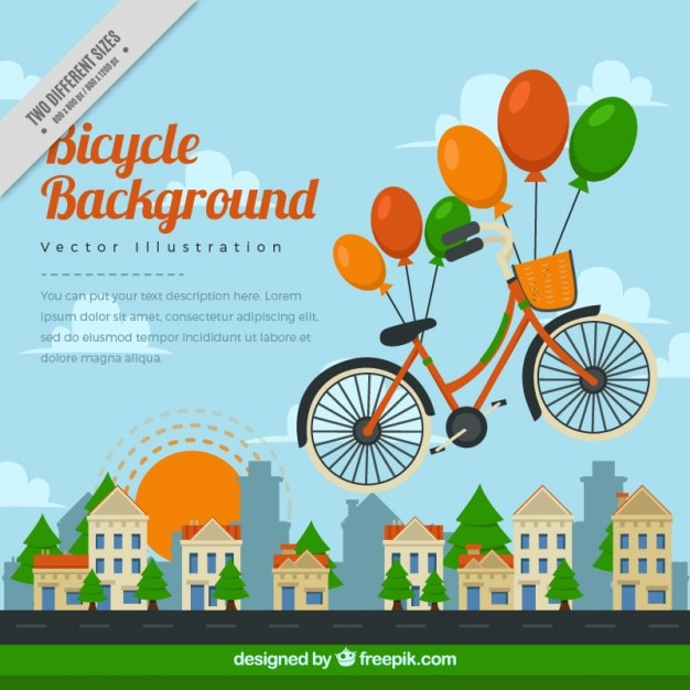 Bicycle flying with colored balloons\ background