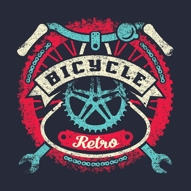 Bicycle grunge vintage poster with wheel, parts and ribbon Premium Vector