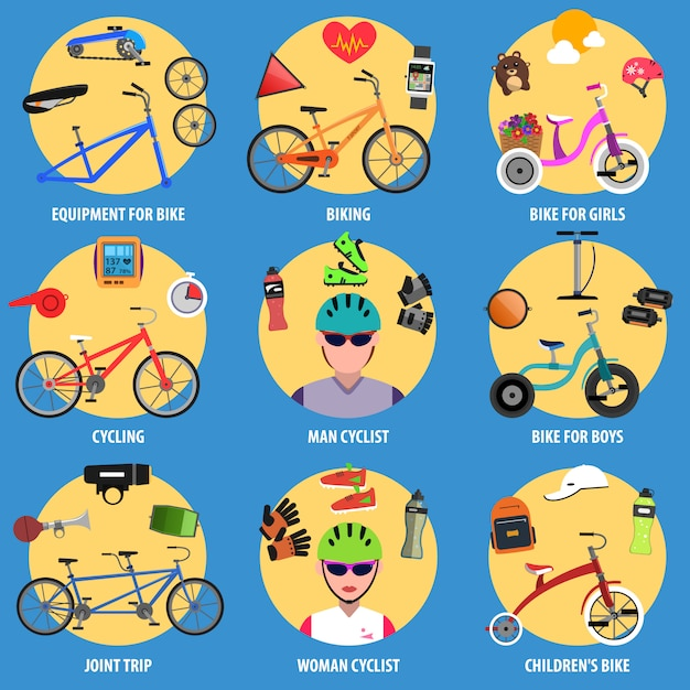 Bicycle icons set Free Vector