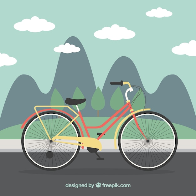 Bicycle in a landscape background