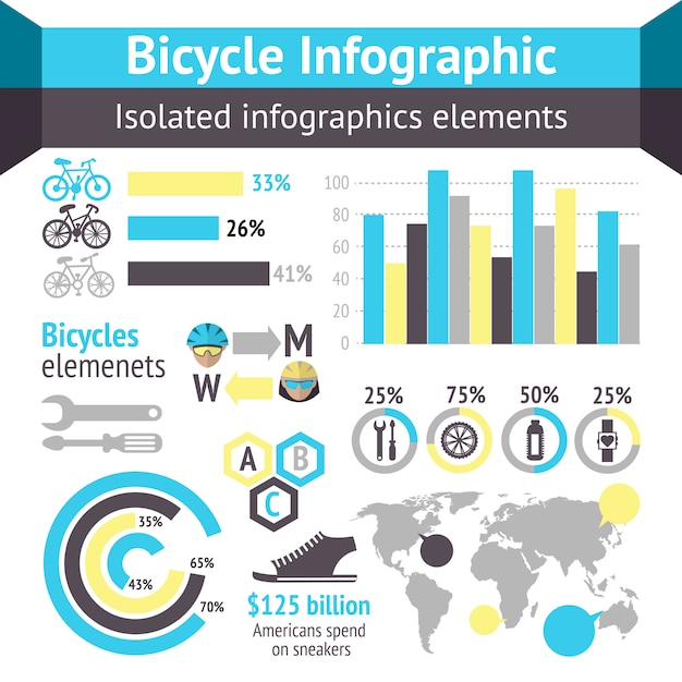 Bicycle infographic elements Free Vector