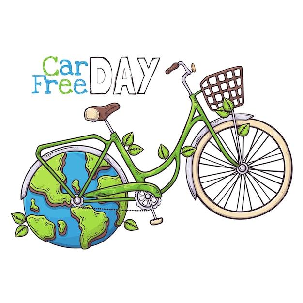 自転車は世界のカーフリーデーの象徴です。 Premiumベクター