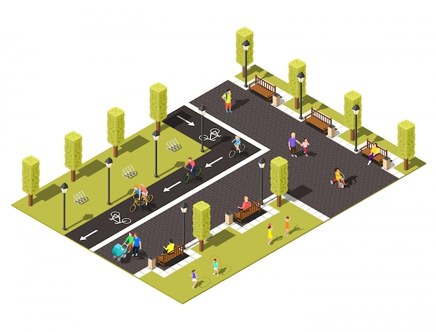 Bicycle isometric composition Free Vector