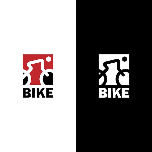 Bicycle logo  with line art of cyclist and bike in square shape Premium Vector