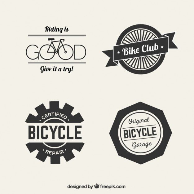 Bicycle logos in retro style Free Vector