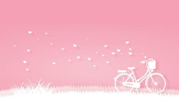 Bicycle in the meadow or garden Premium Vector