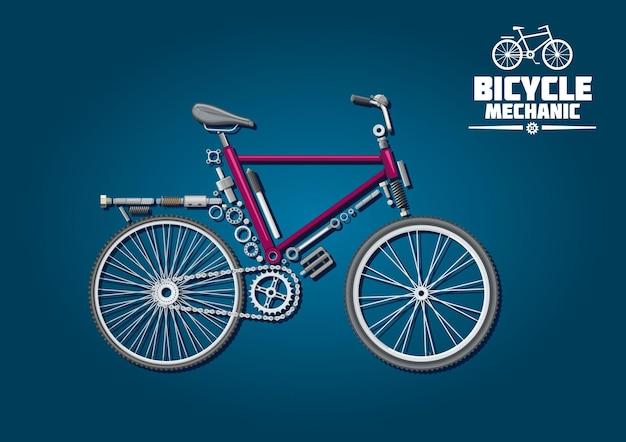 Символ велосипедной механики с подробными деталями, аксессуарами и системой трансмиссии, скомпонованные в силуэт городского велосипеда. Premium векторы