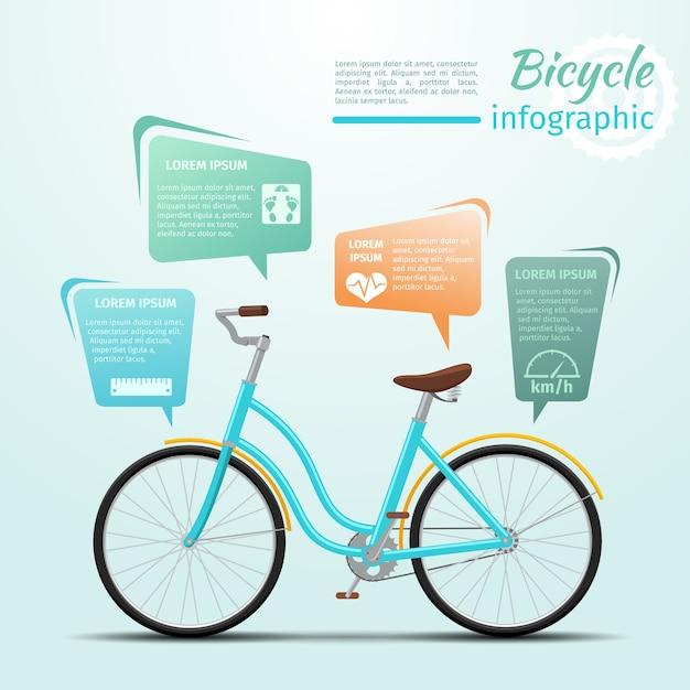 自転車または自転車に関連するフィットネスとスポーツのインフォグラフィック。ホイールとアクティビティ。ベクトルイラスト 無料ベクター