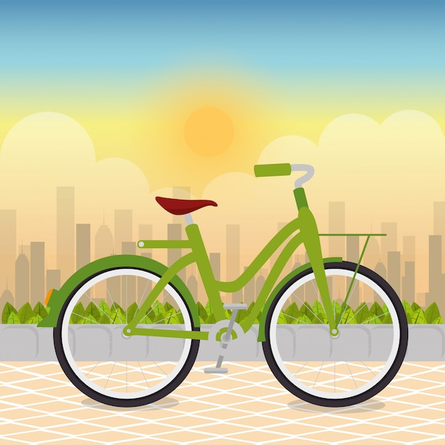 Bicycle in the park scene Free Vector