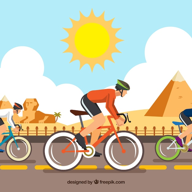 Exercise Bike Egypt: Bicycle Race In Egypt With Flat Design Vector