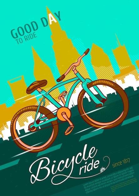 自転車ライドポスター 無料ベクター