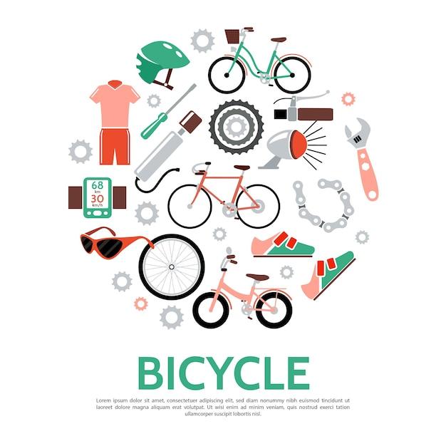 Велосипед круглый шаблон в плоском стиле Бесплатные векторы