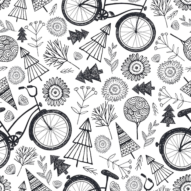 Bicycle seamless pattern with trees, florals, flowers. black and white, hand drawn doodle background Premium Vector