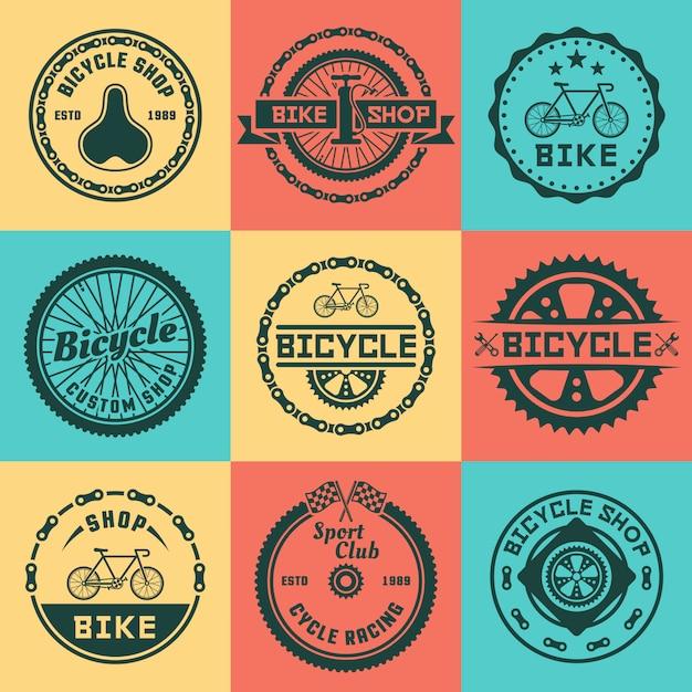 Веломагазин набор векторных цветной круглый логотип, значки, эмблемы Premium векторы