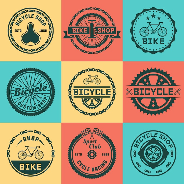 Bicycle shop set of vector colored round logo, badges, emblems Premium Vector