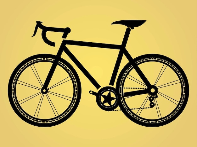 Bicycle silhouette with decorative star Free Vector