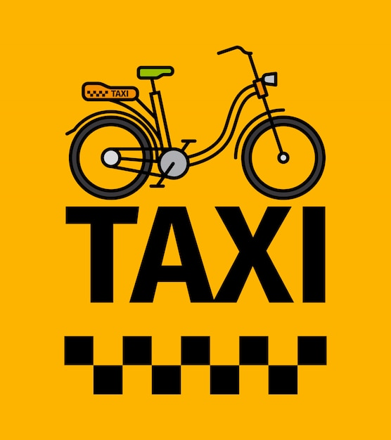 Bicycle taxi transport poster Premium Vector